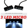 3 LED White License Plate Light Black Housing